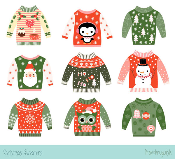 cute Christmas printables - ugly sweaters