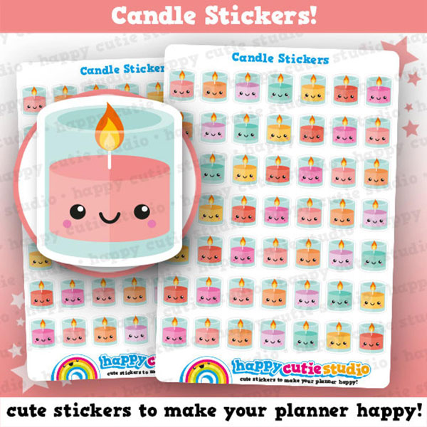 cute candles planner stickers