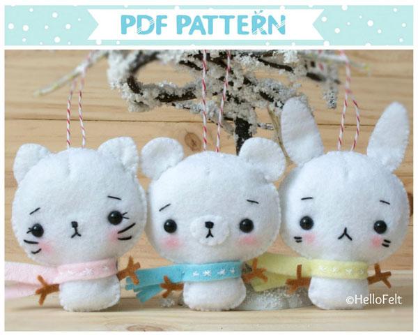 snow animals felt sewing pattern