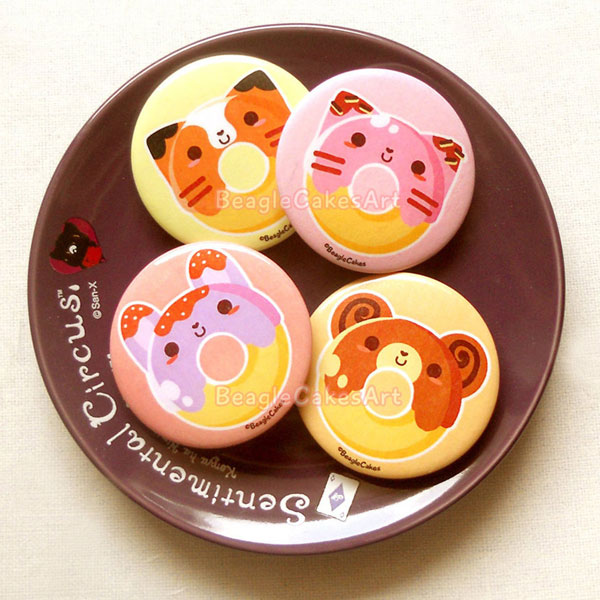 animal donut cute badges pins