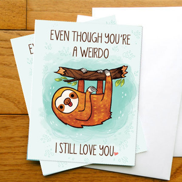cute sloth card