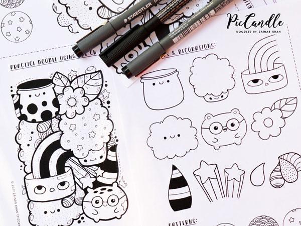 kawaii doodles practice sheets