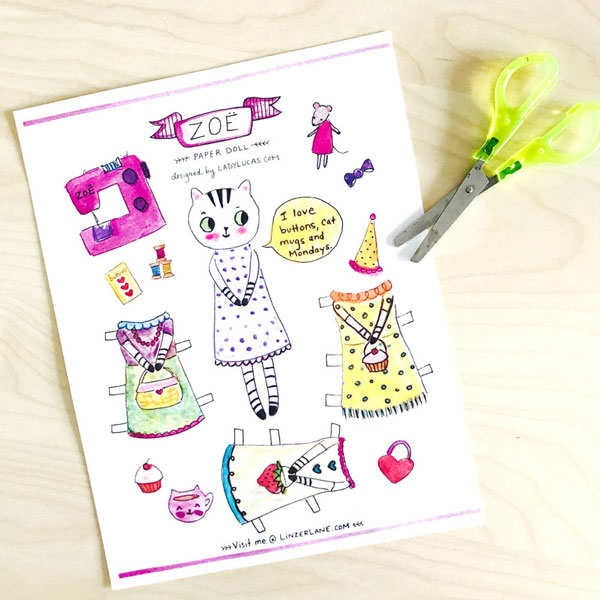 printable paper doll kawaii