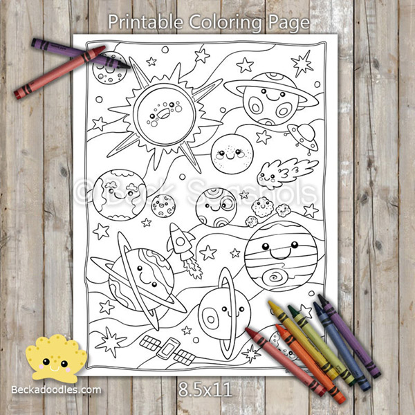Kawaii Printable Coloring Pages - space