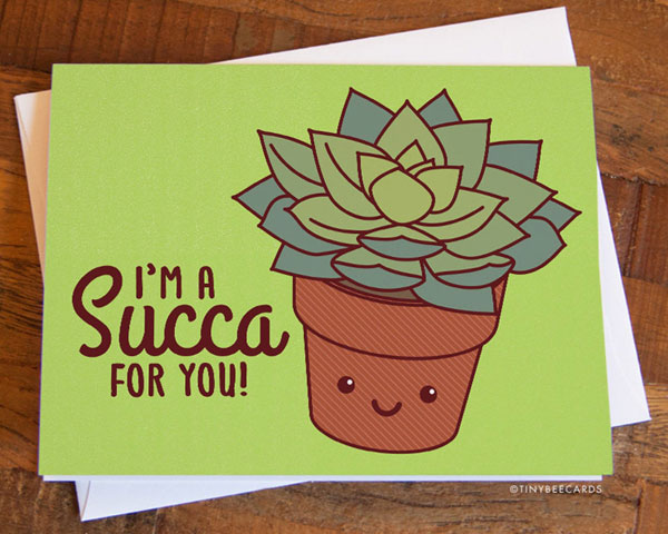 cute succulent card