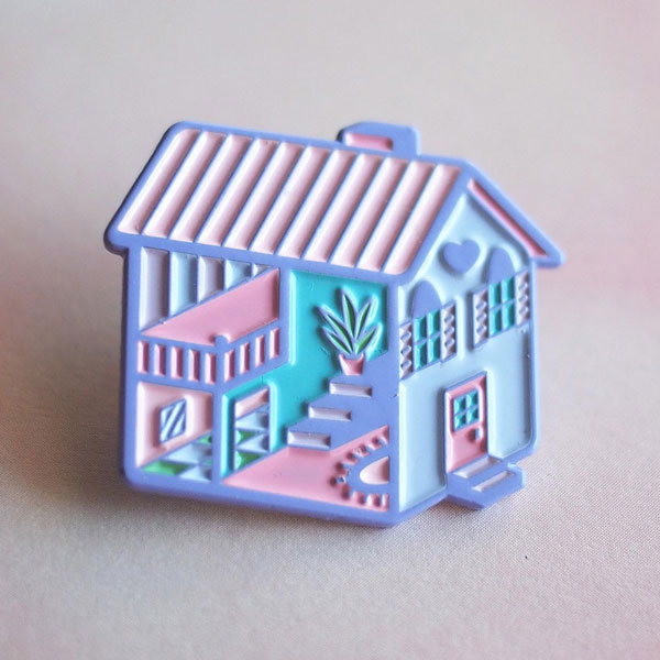 pastel dollhouse enamel pin