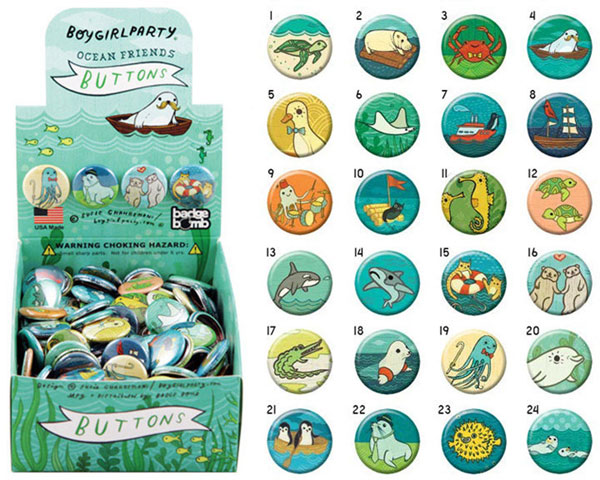 sea creatures cute badges pins