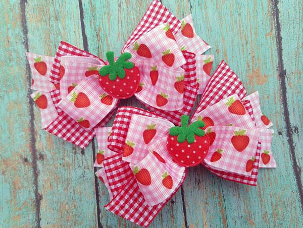 kawaii strawberry hair bows