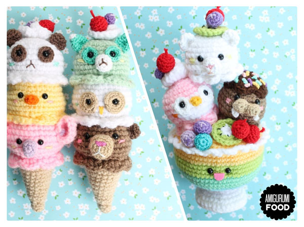 Kawaii Ice Cream amigurumi crochet pattern