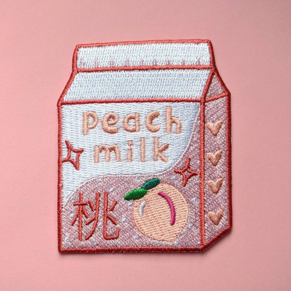 peach milk kawaii patch