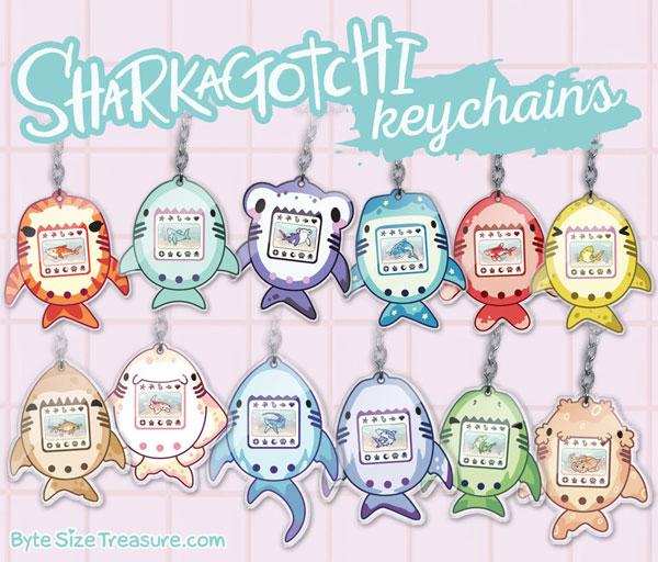 kawaii shark keychains