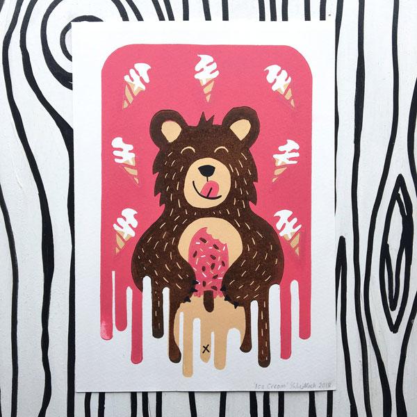 Original Cute Wall Art - lino print