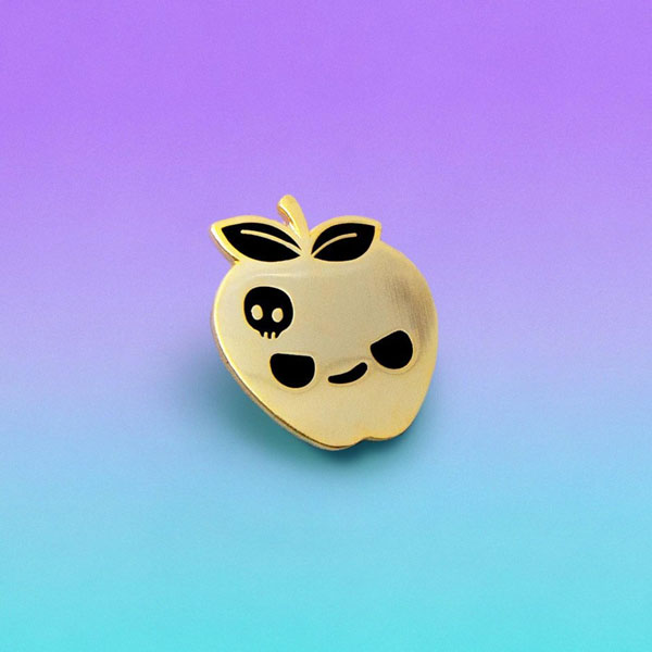 Kawaii Halloween Enamel Pins - poison apple