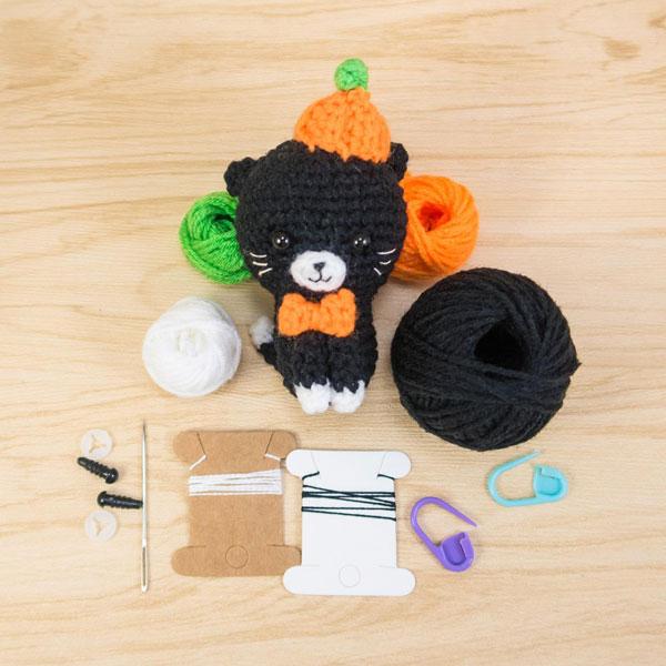Kawaii Halloween Craft Kits - black cat amigurumi crochet pattern