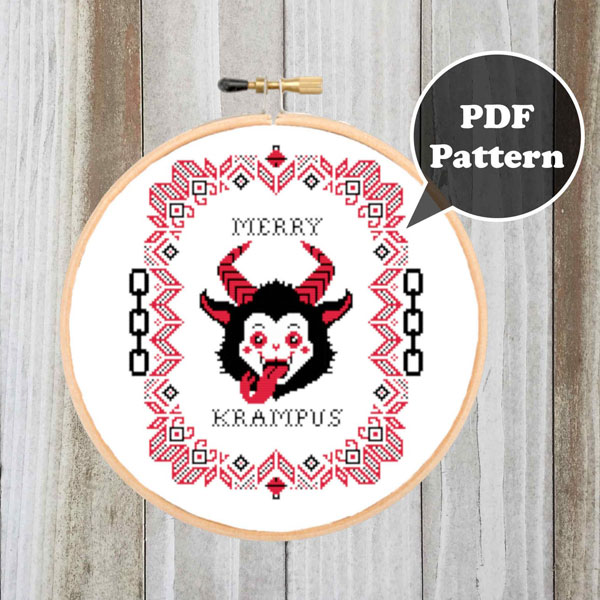 cute krampus cross stitch pattern