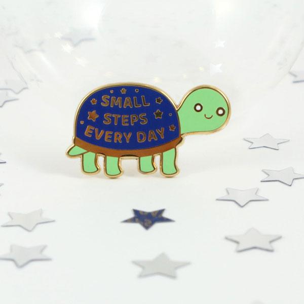 Cute Self Care Enamel Pins - tortoise