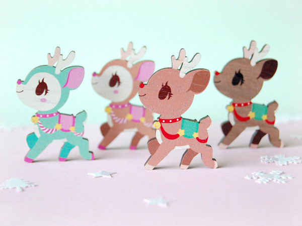 Kawaii Christmas reindeer pin