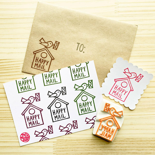 happy mail rubber stamps