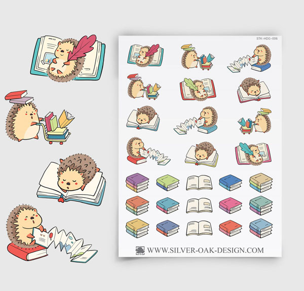 kawaii book lover planner stickers
