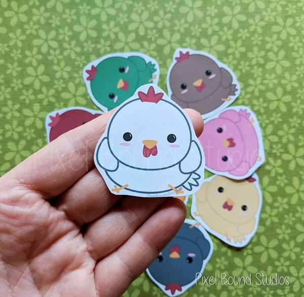 Chibi Chicken Stickers and Magnets