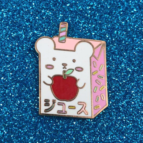 bear apple juice kawaii enamel pin