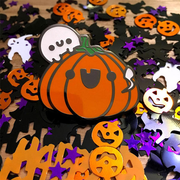 Kawaii Halloween Enamel Pins - pumpkin
