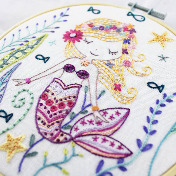kawaii mermaid embroidery pattern