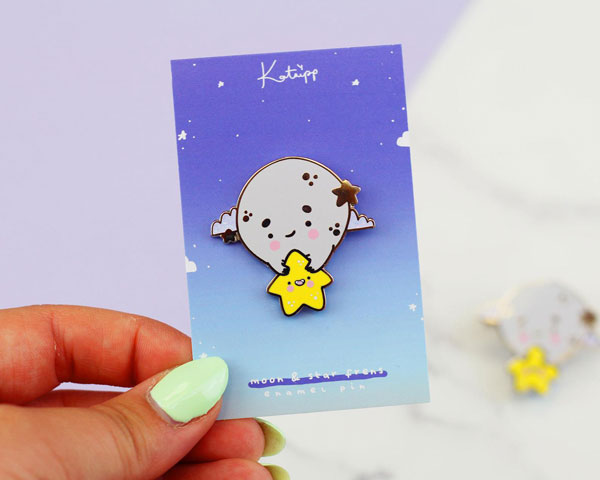 Kawaii Moon enamel pin