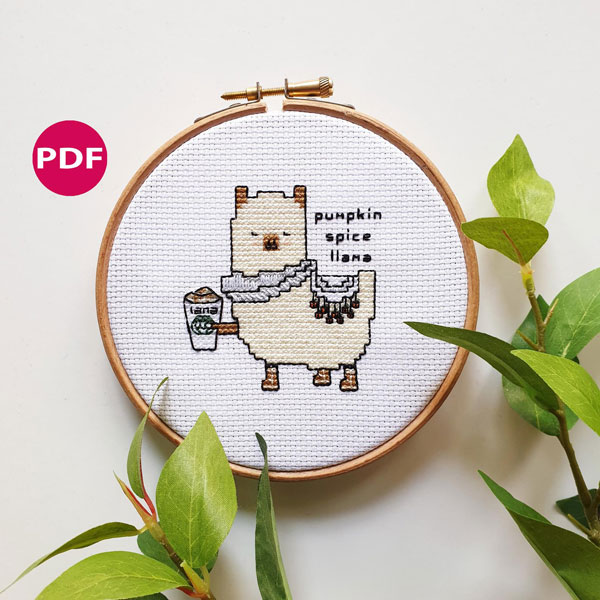 Halloween cross stitch patterns - pumpkin spice llama