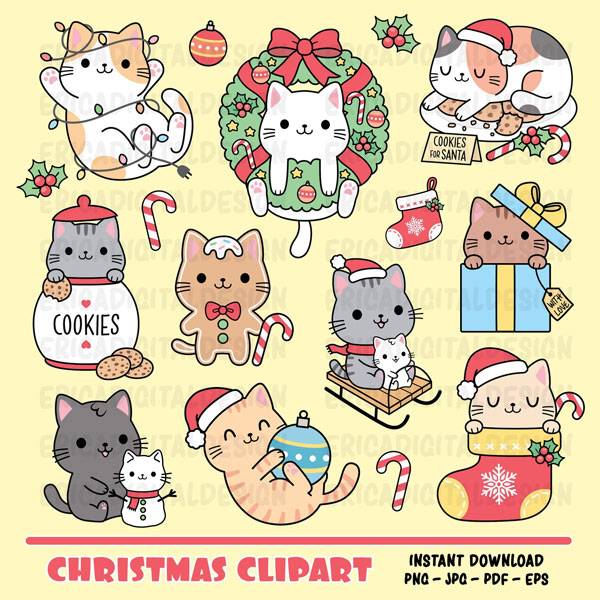 cute Christmas printables - cat stickers