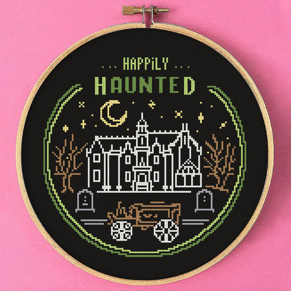 Halloween cross stitch patterns - haunted house