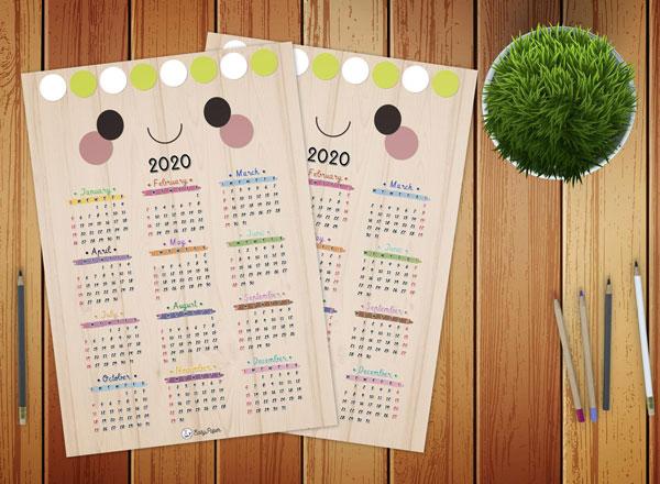 Free 2020 Printable Calendars - kawaii