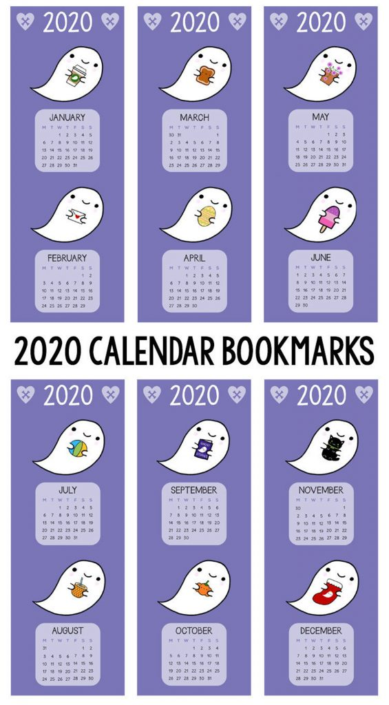 Free 2020 Printable Calendars - ghosts bookmarks