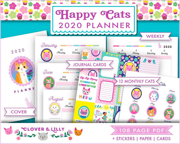 Free 2020 Printable Calendars - cats planner