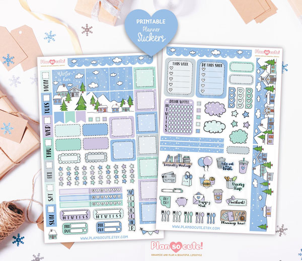 cute Christmas printables - planner stickers