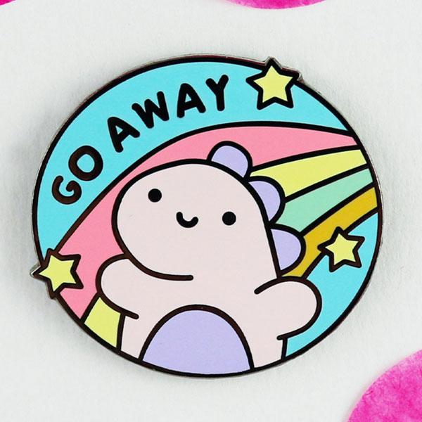 Cute Self Care Enamel Pins - go away