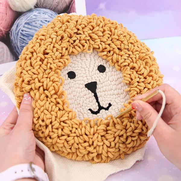 cute punch needle kits - lion