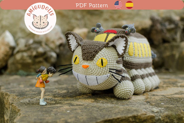 Kawaii Studio Ghibli Crafts - catbus amigurumi crochet pattern