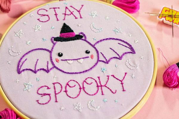 Kawaii Halloween Craft Kits - bat embroidery