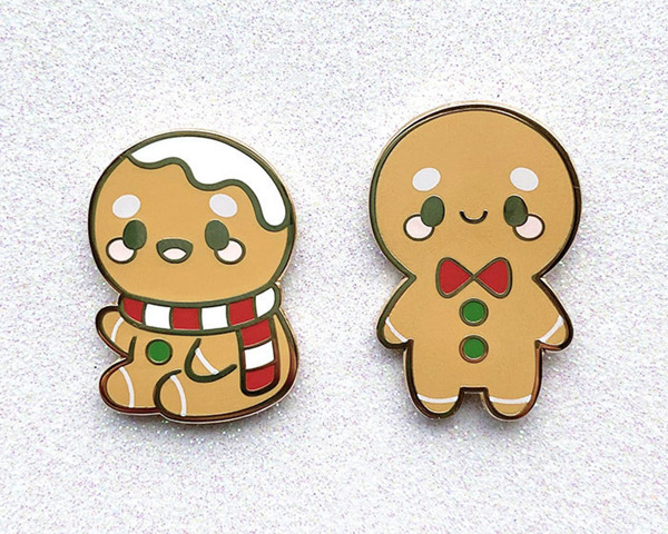 kawaii gingerbread man enamel pins