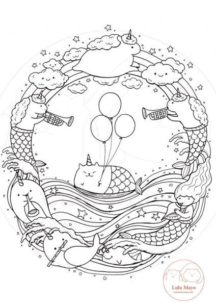 Kawaii Printable Coloring Pages - animals