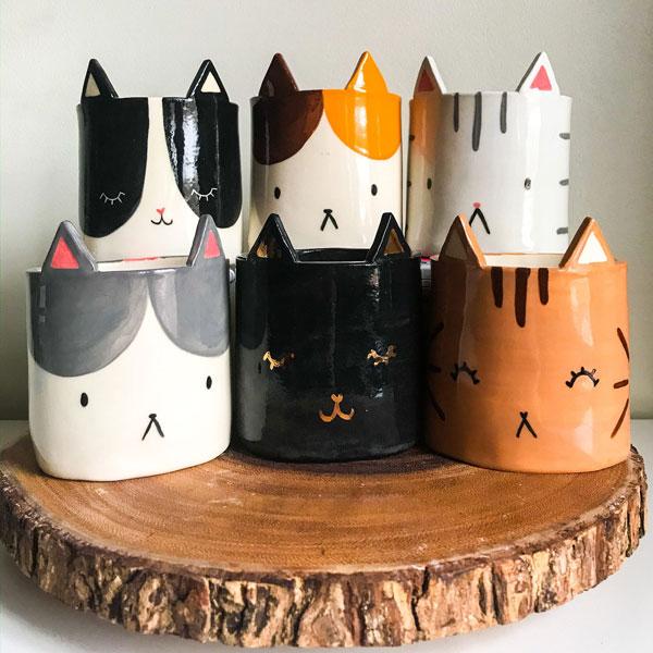 cats ceramic planters
