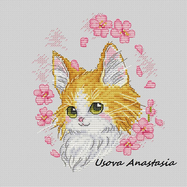 sakura cat Kawaii Cross Stitch Patterns
