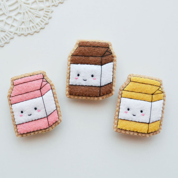 handmade kawaii milk carton pins