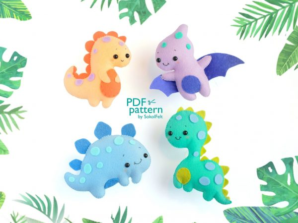 kawaii dinosaurs felt plush patterns