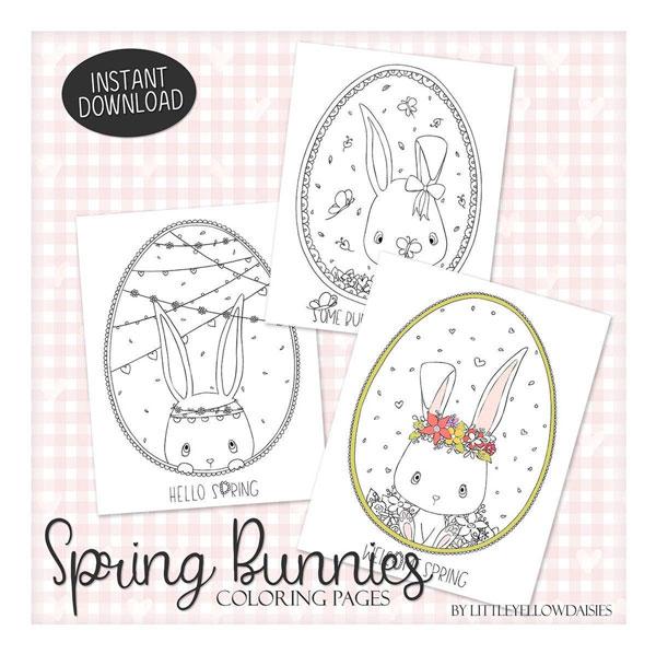 kawaii easter bunny printable coloring sheet
