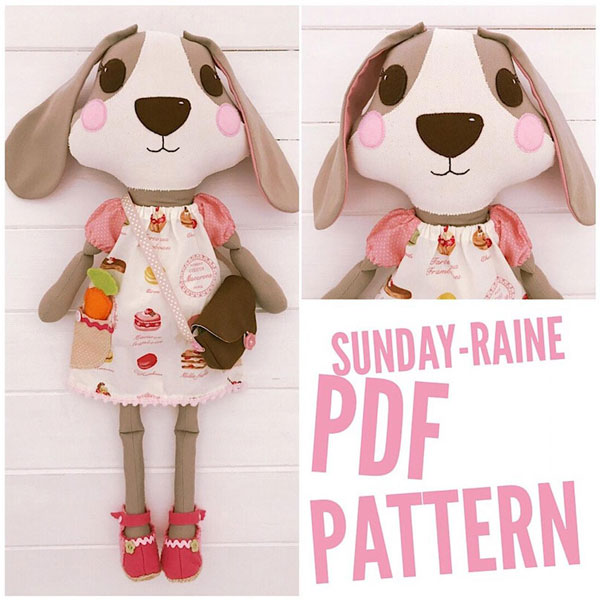 kawaii dog doll sewing pattern