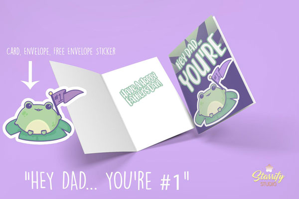 kawaii father's day card printable