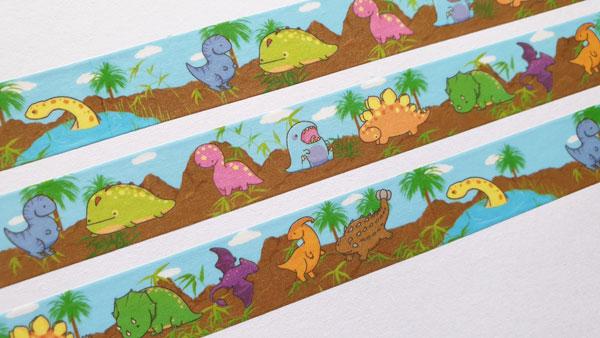 dinosaurs kawaii washi tape