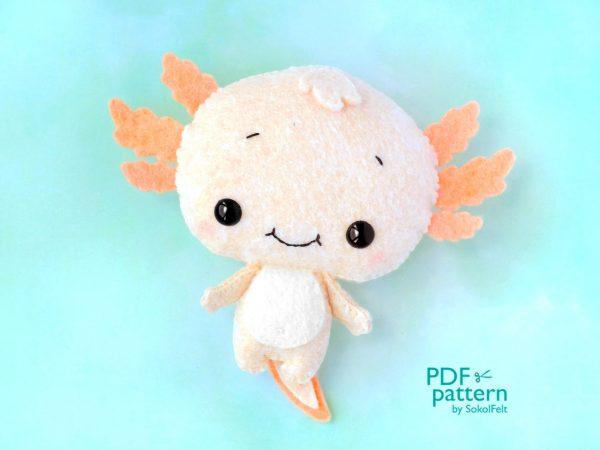 kawaii axolotl felt plush patterns